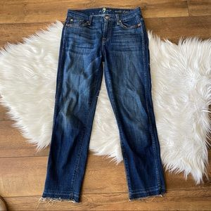 7 For All Mankind Med Wash Ankle Straight Raw Hem